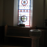 Baptismal Font, stained glass reflextion